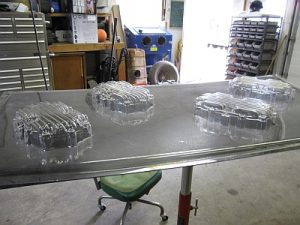 molded parts on a bench